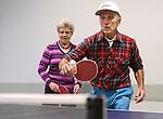 Barbel Naeslund and Bob Parks practice for the Reno Tahoe Senior Games table tennis competition at the Carson City Senior Citizen Center in Carson City, Nev., on Friday, Jan. 29, 2016. <br /> Photo by Cathleen Allison