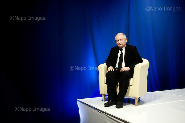 Warsaw 28.09.2011 Poland<br /> Lider of a political party PiS &quot;Law and Justice&quot; ( right fraction ) Jaroslaw Kaczynski, twin brother of tragically died Polish President Lech Kaczynski.<br /> Photo: Adam Lach / Newsweek Polska / Napo Images<br /> <br /> Jaroslaw Kaczynski, szef PiS.<br /> Fot: Adam Lach / Newsweek Polska / Napo Images
