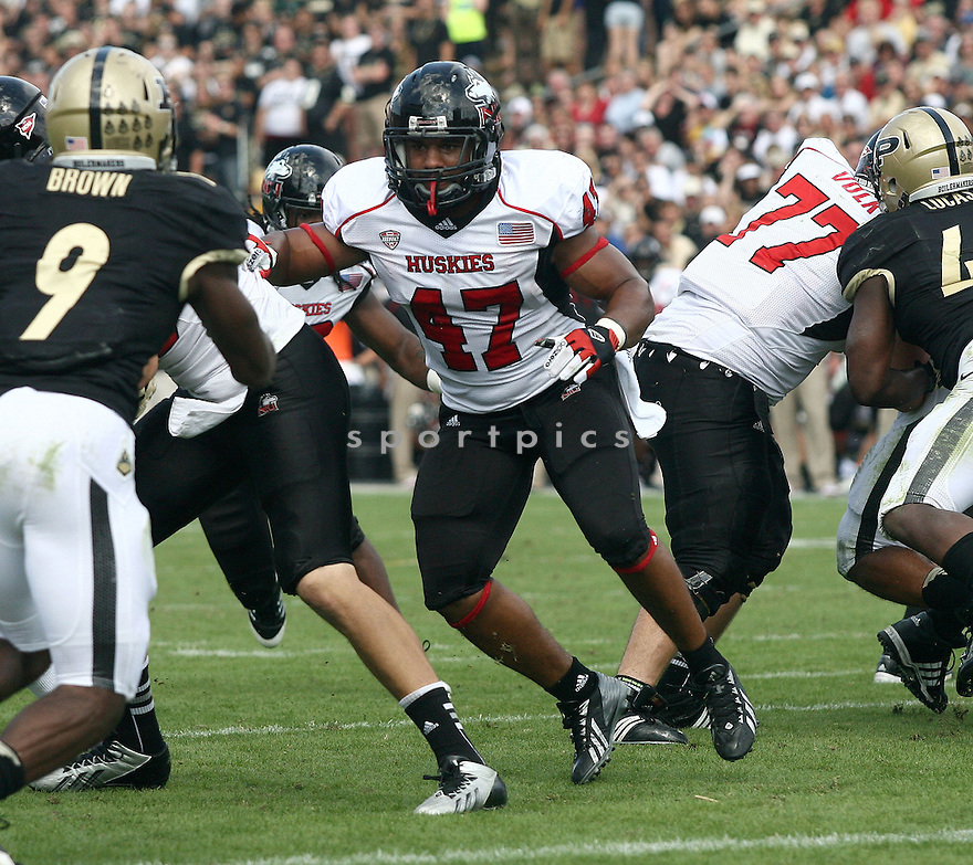 Northern Illinois Huskies Rob Sterling (47) during a game against the Purdue Boilermakers on September 28, 2013 at Ross-Ade Stadium in West Lafayette, IN. NIU beat Purdue 55-24.