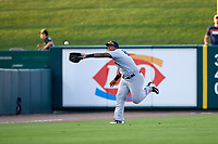 Tampa Tarpons left fielder Alexander Palma (18) catches a fly ball on the run during a game against the Lakeland Flying Tigers on April 5, 2018 at Publix Field at Joker Marchant Stadium in Lakeland, Florida.  Tampa defeated Lakeland 4-2.  (Mike Janes/Four Seam Images)