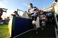 Luke Charteris and the rest of the Bath Rugby team run out onto the field for the second half. Aviva Premiership match, between Bath Rugby and Saracens on December 3, 2016 at the Recreation Ground in Bath, England. Photo by: Patrick Khachfe / Onside Images