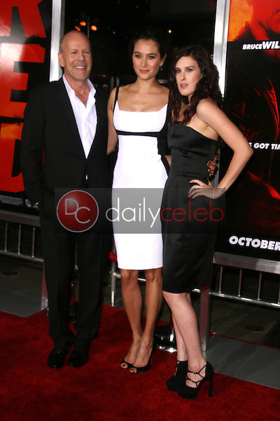Bruce Willis, Emma Heming and Rumer Willis<br />