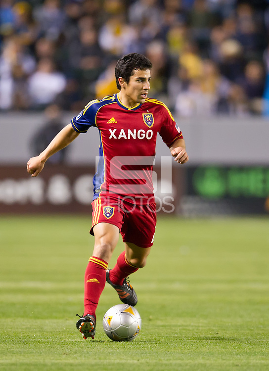 CARSON, CA - March 10,2012: Real Salt Lake defender Tony Beltran (2) during the LA Galaxy vs Real Salt Lake match at the Home Depot Center in Carson, California. Final score LA Galaxy 1, Real Salt Lake 3.