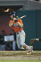 Jay Estes (25) of the Auburn Tigers follows through on his swing against the Army Black Knights at Doak Field at Dail Park on June 2, 2018 in Raleigh, North Carolina. The Tigers defeated the Black Knights 12-1. (Brian Westerholt/Four Seam Images)
