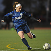 Olivia Curry of Farmingdale looks to make a clear during Game 1 of two Long Island varsity girls soccer senior all-star games at Farmingdale State College on Friday, Nov. 24, 2017.