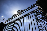 May 4th 2020, Liverpool, United Kingdom; Anfield stadium during the suspension of the Premier League due to the Covid-19 virus pandemic; the locked Shankly Gates outside the deserted stadium