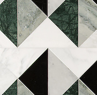 Arbus Medium, a hand-cut stone mosaic, shown in polished Calacatta Radiance, Wujan Jade, Nero Marquina, Carrara, and Kay's Green, is part of the Palazzo® collection by New Ravenna.