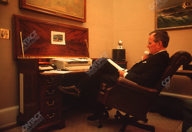 President George H. Bush in his private study at the Whitehouse.  January, 1991