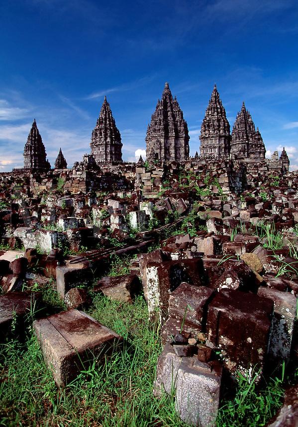 Hwou temple and ruins Prambanan Java Indonesia.