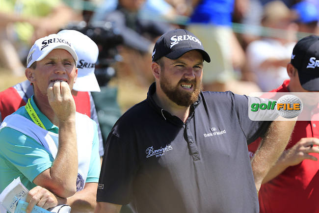 Shane LOWRY (IRL) and caddy Dermot Byrne on the 1st tee to start his match during Sunday's Final Round of the 2015 U.S. Open 115th National Championship held at Chambers Bay, Seattle, Washington, USA. 6/21/2015.<br /> Picture: Golffile | Eoin Clarke<br /> <br /> <br /> <br /> <br /> All photo usage must carry mandatory copyright credit (&copy; Golffile | Eoin Clarke)