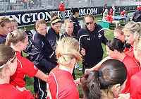 Head coach Jim Gabarra of the Washington Freedom with his players during a WPS pre season match against the Philadelphia Freedom at the Maryland Soccerplex on March 27 2010 in Boyds, Maryland. The game ended in a 0-0 tie.