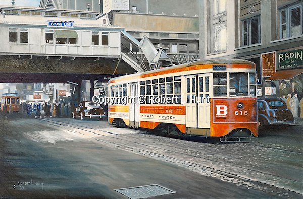 """Trolley moving down Broadway in Ney York City, the old TARS light rail public transportation system circa 1940. Oil on canvas, 14"""" x 21""""."""