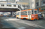"Trolley moving down Broadway in Ney York City, the old TARS light rail public transportation system circa 1940. Oil on canvas, 14"" x 21""."