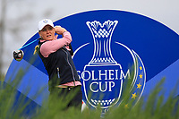 Charley Hull of Team Europe on the 8th tee during Day 2 Foursomes at the Solheim Cup 2019, Gleneagles Golf CLub, Auchterarder, Perthshire, Scotland. 14/09/2019.<br /> Picture Thos Caffrey / Golffile.ie<br /> <br /> All photo usage must carry mandatory copyright credit (© Golffile | Thos Caffrey)