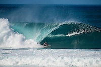 PIPELINE, Oahu/Hawaii (Saturday, December 14, 2013) Jeremy Flores (FRA). - Kelly Slater (USA), 41, has won his 7th Billabong Pipe Masters in Memory of Andy Irons after a day of incredible 10-to-15 foot (three to four metre) waves at Pipeline today. Slater defeated John John Florence (HAW), 21, in a hard-fought, 35-minute Final that ended with less than half-a-point separating the two. The runner-up finish for Florence saw him crowned 2013 Vans Triple Crown of Surfing champion.<br /> <br /> The final day of the Billabong Pipe Masters capped off the 2013 ASP World Championship Tour (WCT) season in fine style, with epic conditions providing the ideal backdrop for the crowning of Mick Fanning (AUS), 32, as the ASP World Champion. It also finalized the ASP Top 34 roster for 2014. Fanning finished third overall, defeated by Florence in their Semifinal.<br /> With tens of thousands packing the beach at Pipeline, and the gravitas of Slater&rsquo;s 56th elite tour victory apparent, the greatest athlete the sport has ever produced was emotional on the final day of 2013.<br /> <br /> Fanning&rsquo;s road to the 2013 ASP World Title was nothing short of spectacular on the final day of competition. Finding himself behind during both his Round 5 and Quarterfinals bouts, the iron-nerved Australian nailed huge Pipeline scores in both occasions to take the heat wins and his third world surfing crown.<br /> <br /> &ldquo;I&rsquo;ve never put myself in the same circles as Tom Curren and Andy Irons,&rdquo; Fanning said. &ldquo;Tom (Curren) is such an enigma and was so instrumental to injecting style into our sport. Andy (Irons)&hellip;what hasn&rsquo;t been said about Andy? He was such a legend and he was such a good friend. I&rsquo;m honored to be a part of this group. I was happy with one title and I was overwhelmed with two. With three? I don&rsquo;t have words for that.&rdquo;<br /> <br /> Today marked John John Florence&rsquo;s second Vans Triple Crown Title, but his runner-up in the final event forces him to hang on to his life-long dream of one day hoisting the Pipe Masters troph