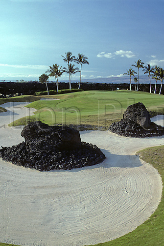 View of bunkers surrounding the 5th green at the Waikoloa Kings Golf Course, Kohala Coast, Hawaii. Photo: Brian Morgan/actionplus...golf course courses general view views scene scenery spectacular club clubs venue scenic landscape.American Hawaiian .fifth 051.bunker bunkers sandtrap trap traps