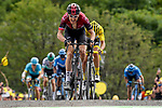 Geraint Thomas (WAL) Team Ineos and Yellow Jersey Julian Alaphilippe (FRA) Deceuninck-Quick Step battle up La Planche des Belles Filles at the end of Stage 6 of the 2019 Tour de France running 160.5km from Mulhouse to La Planche des Belles Filles, France. 11th July 2019.<br /> Picture: Serge Waldbillig | Cyclefile<br /> All photos usage must carry mandatory copyright credit (© Cyclefile | Serge Waldbillig)
