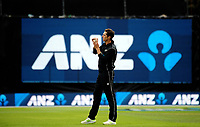 Mitchell Santner warms up to bowl during the One Day International cricket match between the NZ Black Caps and Pakistan at the Basin Reserve in Wellington, New Zealand on Saturday, 6 January 2018. Photo: Dave Lintott / lintottphoto.co.nz