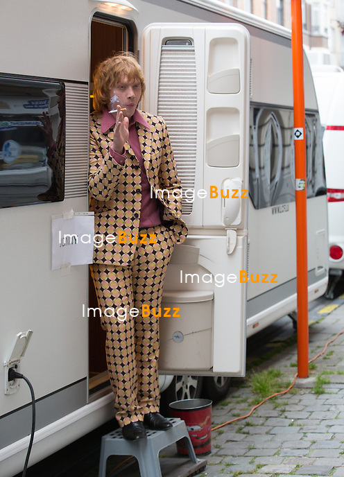 EXCLUSIVE - Rupert Grint and Robert Sheehan on the set of ' Moonwalkers ', in Brussels, Belgium.<br /> May 28, 2014.