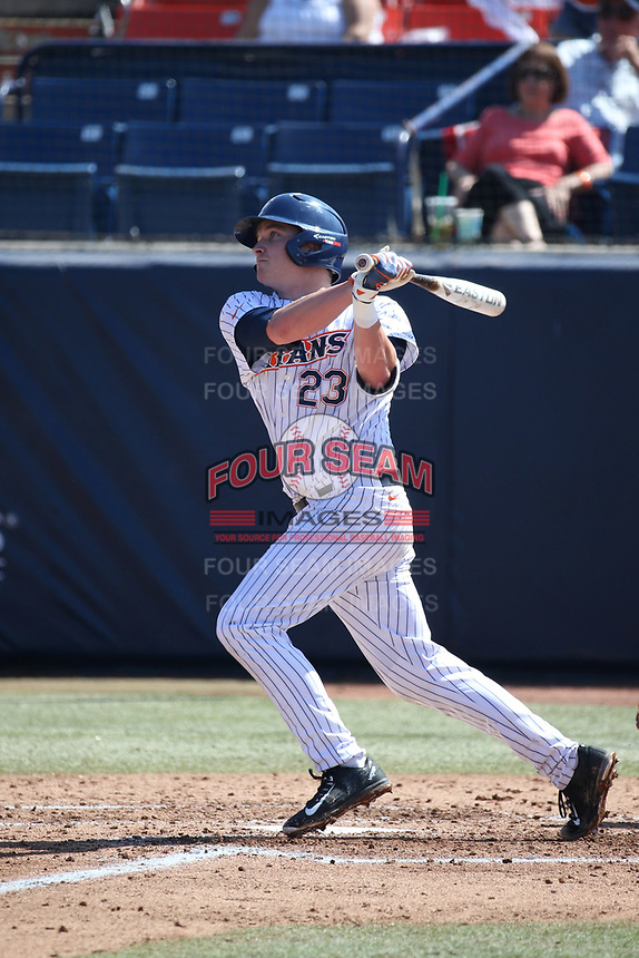 Jake Pavletich (23) of the Cal State Fullerton Titans bats against the Gonzaga Bulldogs at Goodwin Field on March 12, 2017 in Fullerton, California. Fullerton defeated Gonzaga, 3-2. (Larry Goren/Four Seam Images)