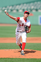 Lowell Spinners pitcher Kevin McAvoy (51) during a game versus the Mahoning Valley Scrappers at Fenway Park in Boston, Massachusetts on July 13, 2014. (Ken Babbitt/Four Seam Images)