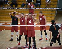STANFORD, CA - December 30, 2017: Evan Enriques, Eric Beatty, Kevin Rakestraw, Jordan Ewert, Jaylen Jasper at Burnham Pavilion. The Stanford Cardinal defeated the Calgary Dinos 3-1.