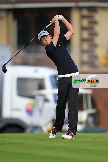 AJ McCabe (Malahide) on the 1st tee during the Irish Boys Under 15 Amateur Open Championship Round 2 at the West Waterford Golf Club on Wednesday 21st August 2013 <br /> Picture:  Thos Caffrey/ www.golffile.ie