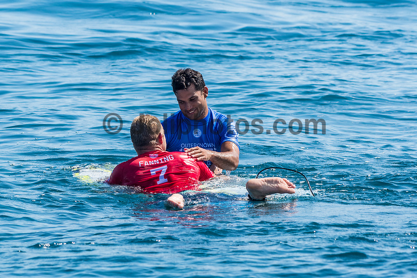 NAMOTU, Fiji (Tuesday, June 13, 2017) Michel Bourez (PYF)  and Mick Fanning (AUS) - Competition has been called on today at Stop No. 5 on the 2017 World Surf League (WSL) Championship Tour (CT), the Outerknown Fiji Pro. The remaining heats of Round 3 will get underway at 12 p.m. at Cloudbreak in four-to-five foot surf. <br /> <br /> &quot;The swell is here and it's 4 - 5 foot and building,&quot; said WSL Deputy Commissioner, Renato Hickel. &quot;Seven days after we last ran we're finally going to recommence competition today. We're going to start with Round 3 at 12 noon.&quot;<br /> <br /> Location:      Tavarua/Namotu, Fiji<br /> Event window:   June 4 - 16, 2017<br /> Today's call:<br />  Round 3 called ON for 12 PM start <br /> Conditions:         4 - 5 foot (1.2 - 1.5 metre)<br /> <br /> Photo: joliphotos.com
