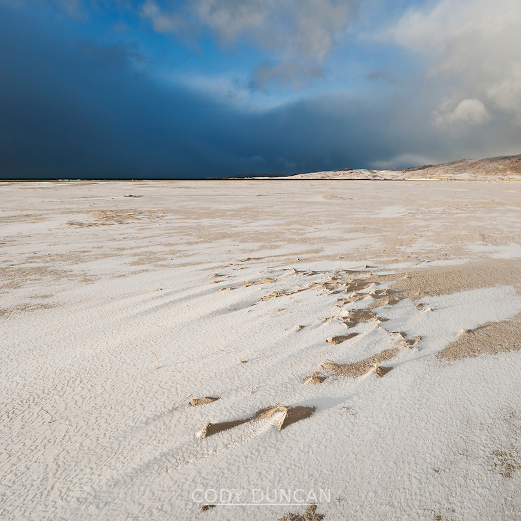 Snow on Luskentyre beach, Isle of Harris, Outer Hebrides, Scotland