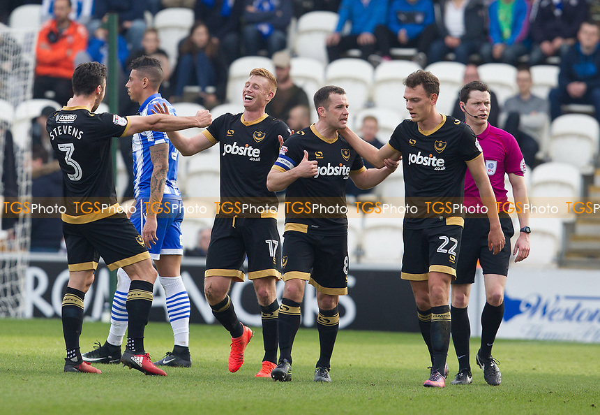 The Portsmouth players celebrate the opening goal during Colchester United vs Portsmouth, Sky Bet EFL League 2 Football at the Weston Homes Community Stadium on 11th March 2017