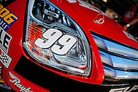 Sept. 19, 2008; Dover, DE, USA; Detail view of the front end of the car of Nascar Sprint Cup Series driver Carl Edwards during practice for the Camping World RV 400 at Dover International Speedway. Mandatory Credit: Mark J. Rebilas-