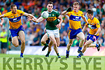 Jack Barry Kerry in action against Gary Brennan and Pearse Lillis Clare during the Munster GAA Football Senior Championship semi-final match between Kerry and Clare at Fitzgerald Stadium in Killarney on Sunday.