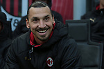 Zlatan Ibrahimovic of AC Milan smiles as he is pictured on the bench before the Serie A match at Giuseppe Meazza, Milan. Picture date: 6th January 2020. Picture credit should read: Jonathan Moscrop/Sportimage