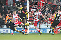 Rotherham United's Kieffer Moore scores his sides first goal  to equalise in injury time<br /> <br /> Photographer Mick Walker/CameraSport<br /> <br /> The EFL Sky Bet League One - Doncaster Rovers v Rotherham United - Saturday 11th November 2017 - Keepmoat Stadium - Doncaster<br /> <br /> World Copyright &copy; 2017 CameraSport. All rights reserved. 43 Linden Ave. Countesthorpe. Leicester. England. LE8 5PG - Tel: +44 (0) 116 277 4147 - admin@camerasport.com - www.camerasport.com