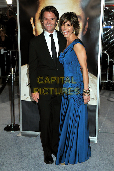 "HARRY HAMLIN & LISA RINNA .""The Curious Case of Benjamin Button"" Los Angeles Premiere at Mann's Village Theatre, Westwood, California, USA..December 8th, 2008.full length black suit blue long maxi ruched dress married husband wife .CAP/ADM/BP.©Byron Purvis/AdMedia/Capital Pictures."