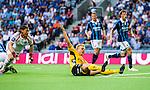Stockholm 2014-07-07 Fotboll Allsvenskan Djurg&aring;rdens IF - IF Elfsborg :  <br /> Elfsborgs Per Frick gestikulerar efter att ha fallit i straffomr&aring;det i n&auml;rkamp med Djurg&aring;rdens m&aring;lvakt Kenneth H&ouml;ie H&oslash;ie <br /> (Foto: Kenta J&ouml;nsson) Nyckelord:  Djurg&aring;rden DIF Tele2 Arena Elfsborg IFE