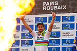 World Champion Peter SAGAN (SVK) Bora-Hansgrohe on the podium after winning the 2018 Paris-Roubaix race, Velodrome Roubaix, France, 8 April 2018, Photo by Thomas van Bracht / PelotonPhotos.com | All photos usage must carry mandatory copyright credit (Peloton Photos | Thomas van Bracht)