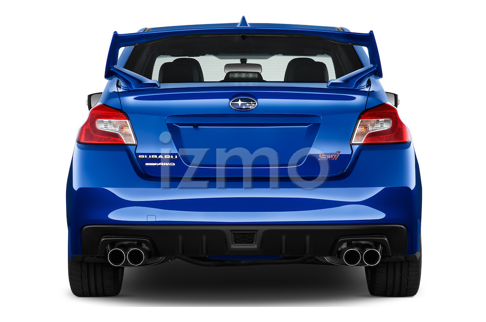 Straight rear view of 2017 Subaru WRX STI - 4 Door Sedan Rear View  stock images