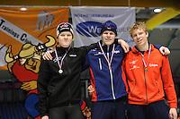 SCHAATSEN: HEERENVEEN: Thialf, Viking Race, 18-03-2011, Podium Boys16 500m, David Andersson (SWE), Gerben Jorritsma (G-FR), Paul-Yme Brunsmann (G-FR) ©foto Martin de Jong