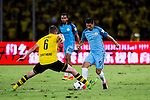 SHENZHEN - JULY 28: Manchester City striker Nolito Agudo (r) contests the ball against Borussia Dortmund midfielder Sven Bender (l) during the match between Borussia Dortmund vs Manchester City FC at the 2016 International Champions Cup China match at the Shenzhen Stadium on 28 July 2016 in Shenzhen, China. (Photo by Power Sport Images/Getty Images)