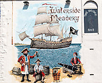 Mural of pirates on Waterside Meadery, The Bridge Bar, Penzance, Cornwall, England, UK