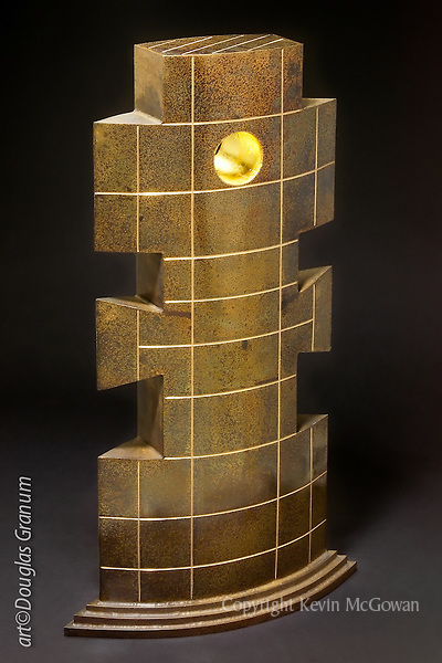 """Talisker"", Fabricated bronze sculpture by artist Douglas Granum incorporating 24kkt gold leaf, engraving and patina;  www.douglasgranum.com"