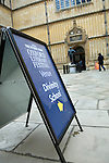 Signs at the Bodleian Library during the Sunday Times Oxford Literary Festival, UK, 16 - 24 March 2013. <br />