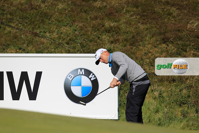 Alex Noren (SWE) on the 8th green during Round 1 of the 2015 Dubai Duty Free Irish Open, Royal County Down Golf Club, Newcastle Co Down, Northern Ireland. 28/05/2015<br /> Picture Thos Caffrey, www.golffile.ie