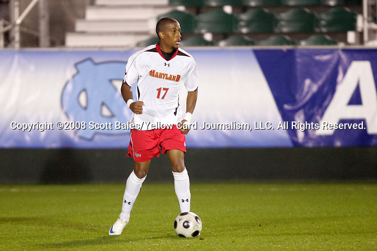 14 November 2008: Maryland's Jeremy Hall. The University of Maryland defeated Boston College 1-0 at WakeMed Stadium at WakeMed Soccer Park in Cary, NC in a men's ACC tournament semifinal game.