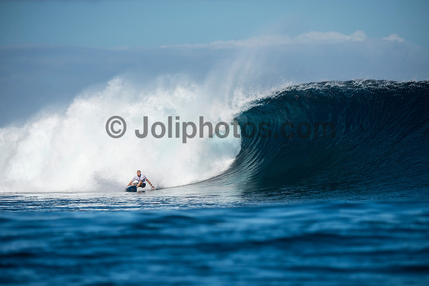 Namotu Island Resort, Nadi, Fiji (Thursday, June 16 2016):  Mick Fanning (AUS)  - The Fiji Pro, stop No. 5 of 11 on the 2016 WSL Championship Tour, was recommenced today at Cloudbreak with a consistent SSW swell in the 6'-8' range. <br /> Rounds 4 and 5 were completed in perfect conditions with a number of rides in the excellent range including two perfect 10 point rides form Gabriel Medina (BRA) and Kelly Slater (USA).<br /> The contest will wrap up tomorrow in what is shaping up as another perfect surf day.<br /> Photo: joliphotos.com