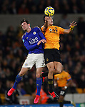 Ben Chillwell of Leicester City and Raul Jimenez of Wolverhampton Wanderers during the Premier League match at Molineux, Wolverhampton. Picture date: 14th February 2020. Picture credit should read: Darren Staples/Sportimage