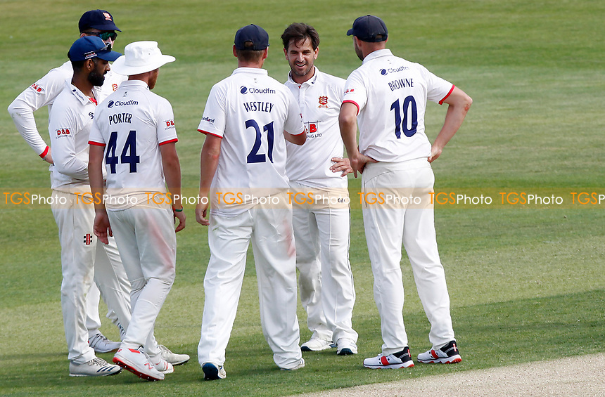 Ryan ten Doeschate (facing) of Essex celebrates taking the wicket of Grant Stewart with his Essex team mates during Essex CCC vs Kent CCC, Bob Willis Trophy Cricket at The Cloudfm County Ground on 1st August 2020