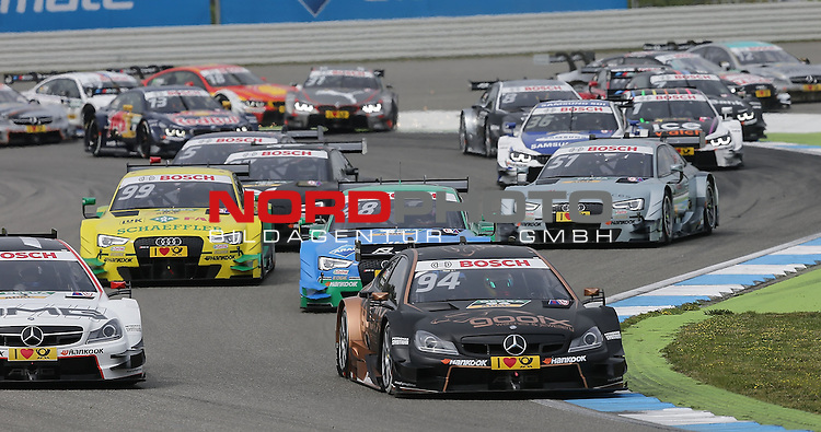 DTM 2015, 01.Lauf Hockenheimring, 01.05. - 03.05.15 <br /> Rennstart<br /> Paul Di Resta (GBR#3) Silberpfeil Energy Mercedes-AMG C-Coup&eacute; , Pascal Wehrlein (DEU#94) gooix/Original-Teile Mercedes-AMG C-Coup&eacute;<br /> <br /> <br /> <br /> Foto &copy; nordphoto /  Bratic