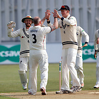 Darren Stevens is high fived by Zak Crawley after he captured the wicket of Chris Dent LBW during the County Championship Division 2 game between Kent and Gloucestershire at the St Lawrence Ground, Canterbury, on Fri 13 Apr, 2018.